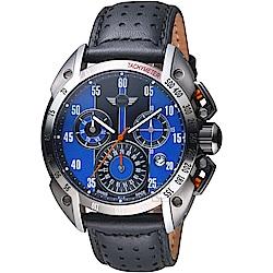 MINI Swiss Watches極速運動計時腕錶(MINI-160504)-藍x黑皮