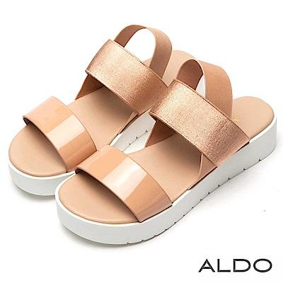 ALDO 原色寬版一字彈性鬆緊帶厚底涼鞋~氣質裸色
