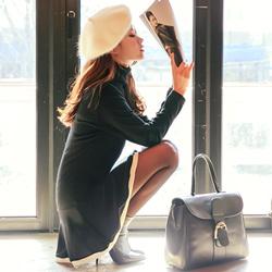 雙層裙襬棉質高領洋裝 (黑色)-Sexy JADE
