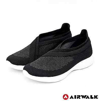 【AIRWALK】波浪編織健走鞋-時尚黑