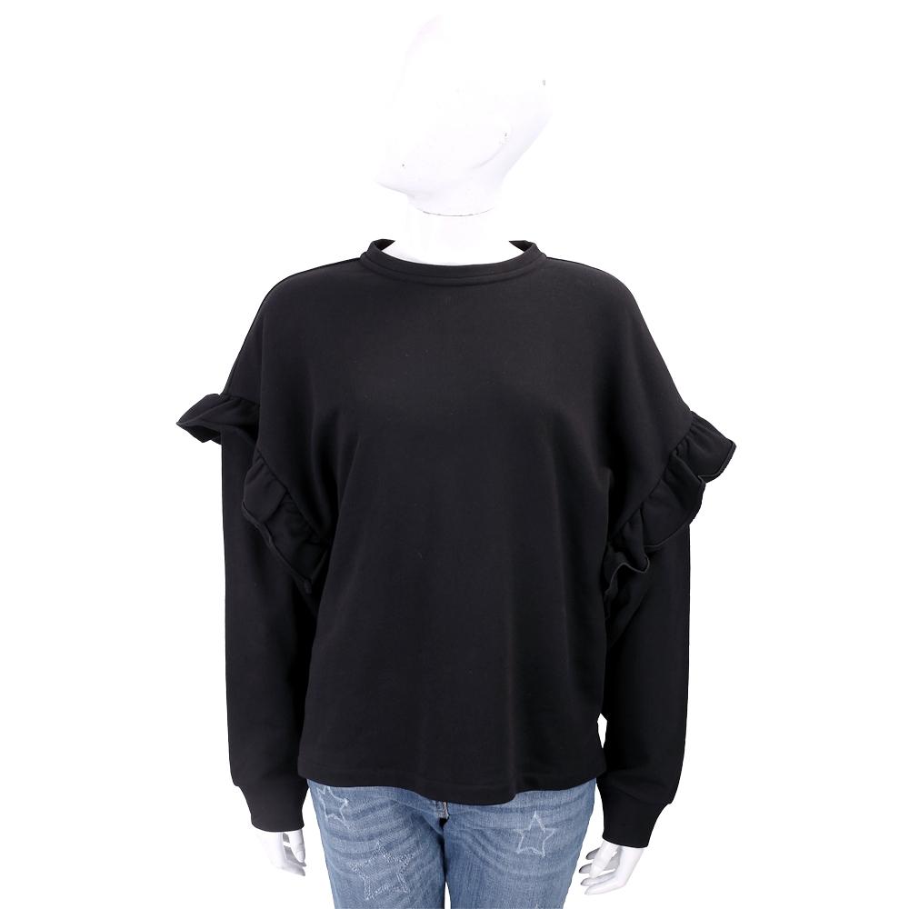 PINKO 荷葉袖黑色棉質運動衫