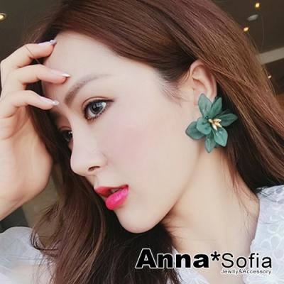 【3件5折】AnnaSofia 磨砂霧透綺花 大型925銀針耳針耳環(森林綠花系)
