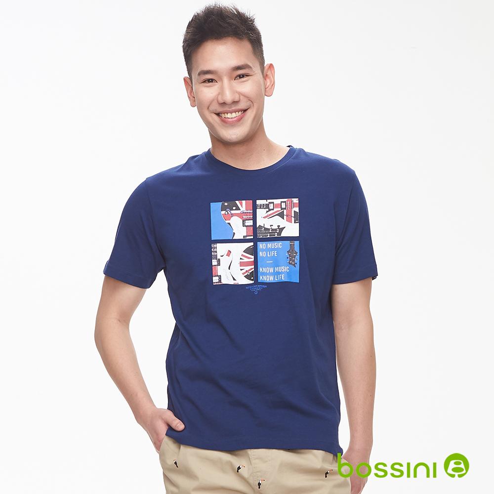 bossini男裝-印花短袖T恤08海軍藍