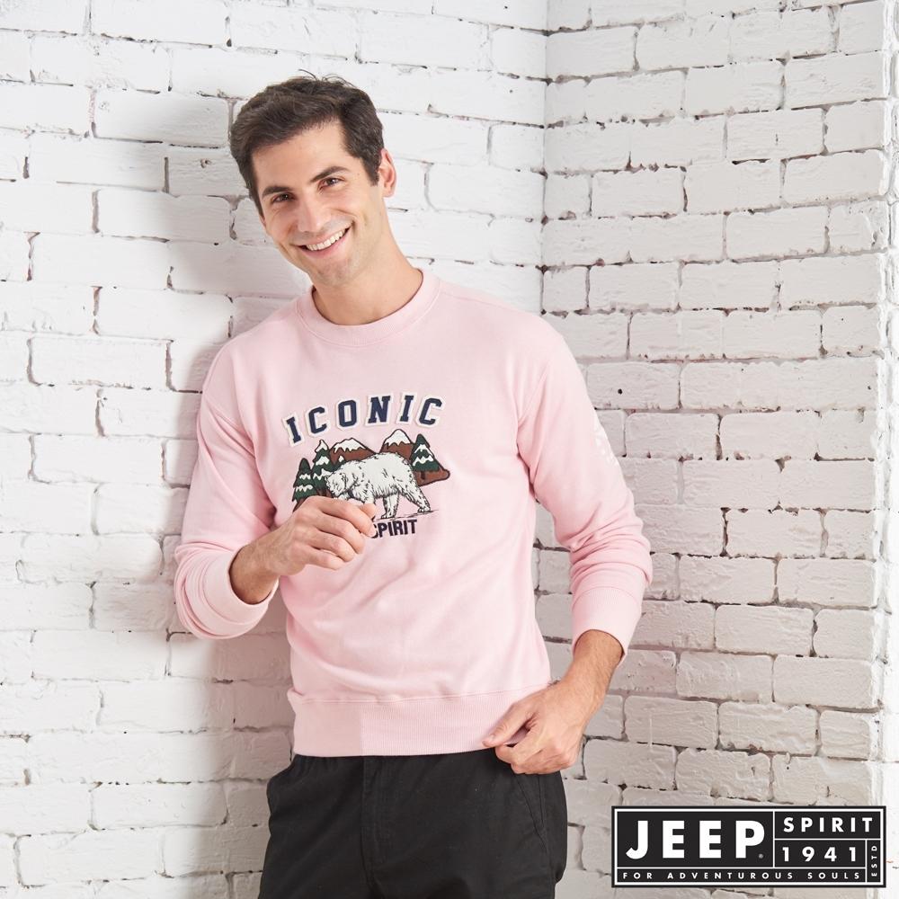 JEEP 森林探險立體刺繡長袖TEE-男女適穿 -粉色