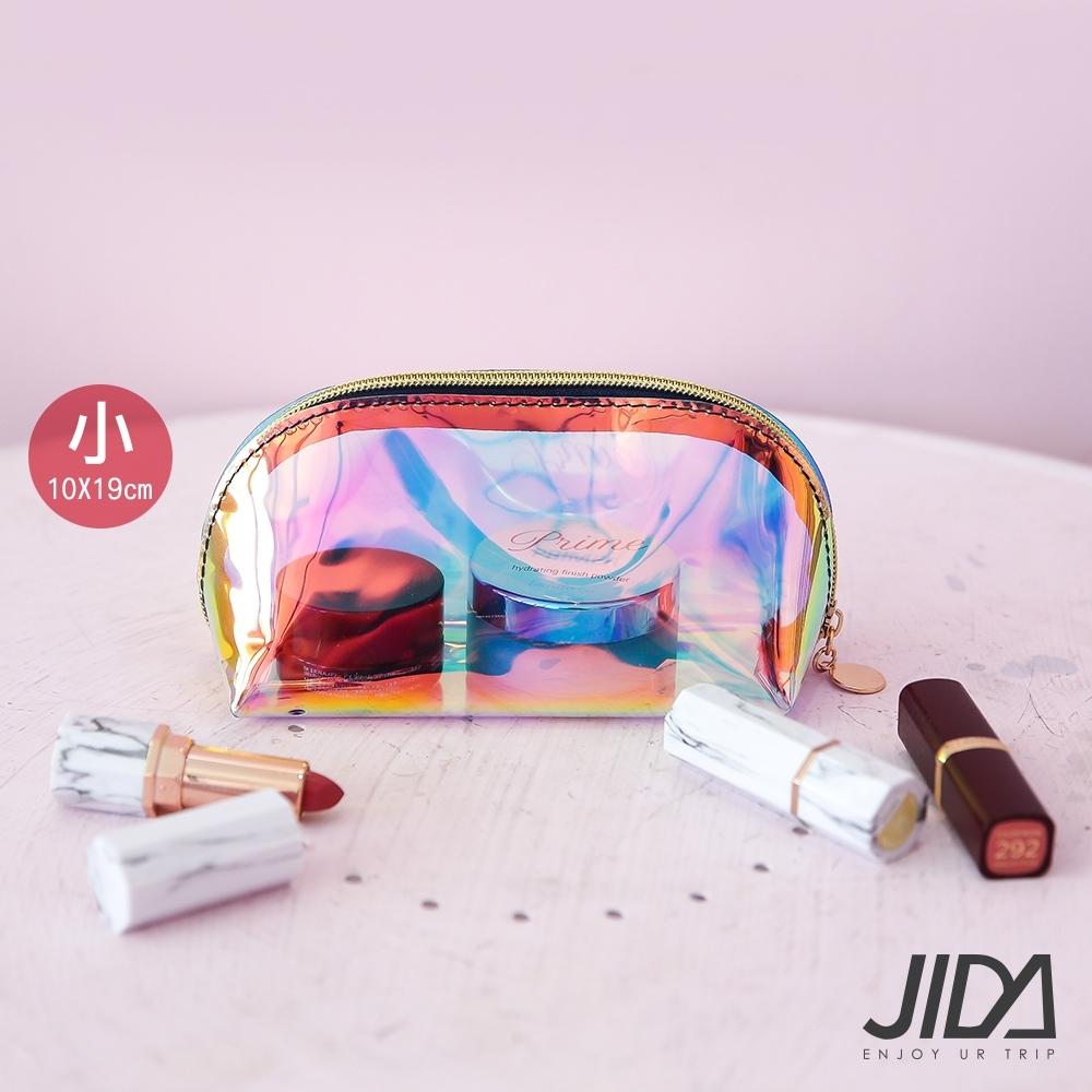JIDA 網美款 雷彩TPU耐磨防水厚款半透明化妝包(小) 19x10cm