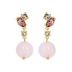 Les Nereides PRECIOUS FANCIES系列 粉色水鑽寶石垂墜耳環