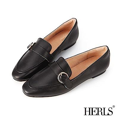 HERLS 好感系 全真皮百搭釦環樂福鞋-黑色