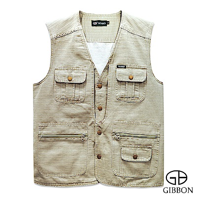 GIBBON 橫紋手感多口袋休閒背心-二色