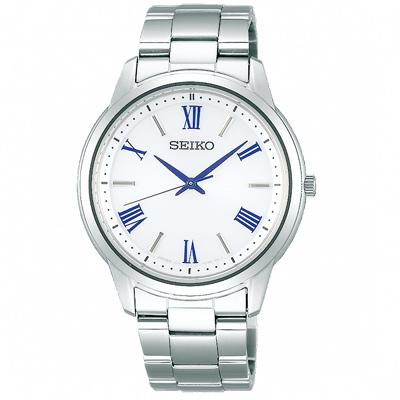 SEIKO 精工 SPIRIT太陽能簡約時尚手錶SBPL007J-白X銀/39mm