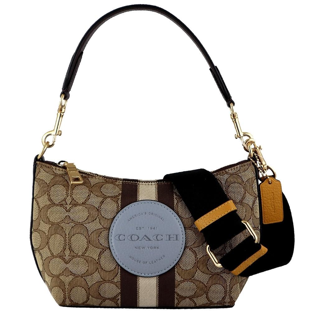 COACH 圓標帆布咖啡色皮飾邊兩用肩背斜背包