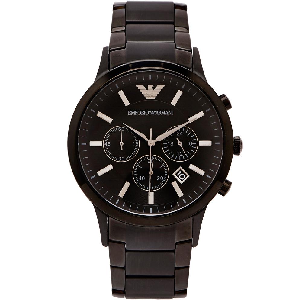EMPORIO ARMANI黑色時尚風三眼男性手錶(AR2453)-黑面/42mm