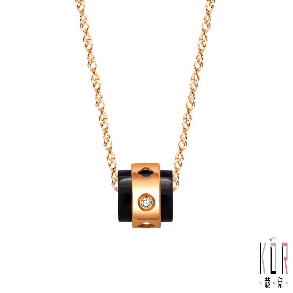 K'OR蔻兒 時尚女王鑽石/玫瑰金項鍊