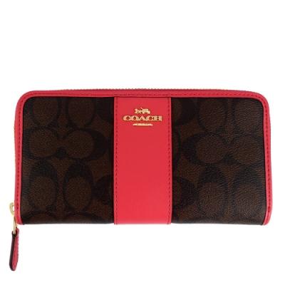 COACH 馬車LOGO桃紅色皮飾邊防水材質拉鍊長夾