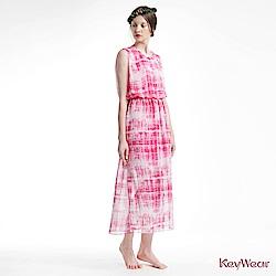 KeyWear奇威名品     優雅柔美高腰長版垂袖洋裝-粉紅色