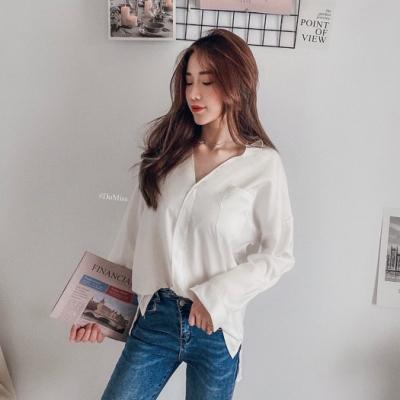 DoMiss慵懶最美大V領寬鬆襯衫(2色)