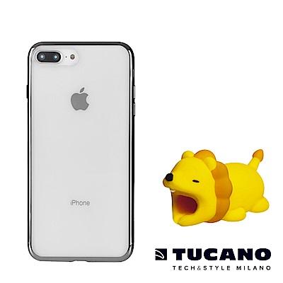 TUCANO iPhone7+/8+全機防護組合(防撞保護套+動物園Ⅱ咬線器隨機款)