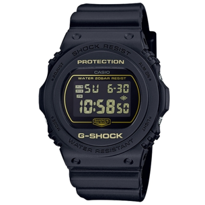 G-SHOCK 絕對強悍質感霧面黑圓形電子錶-黃字(DW-5700BBM-1)/42.8mm