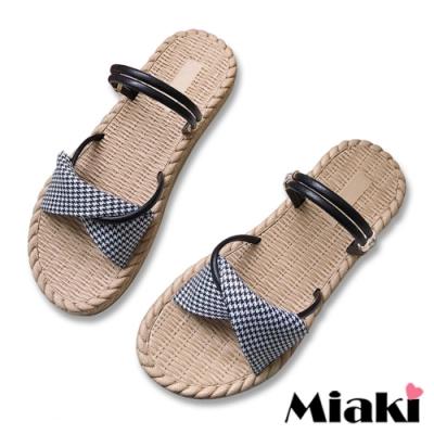 Miaki-涼鞋可愛韓風2穿休閒拖鞋-黑