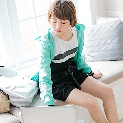 情侶系列~高含棉色塊拼接短袖上衣(女)-OB嚴選