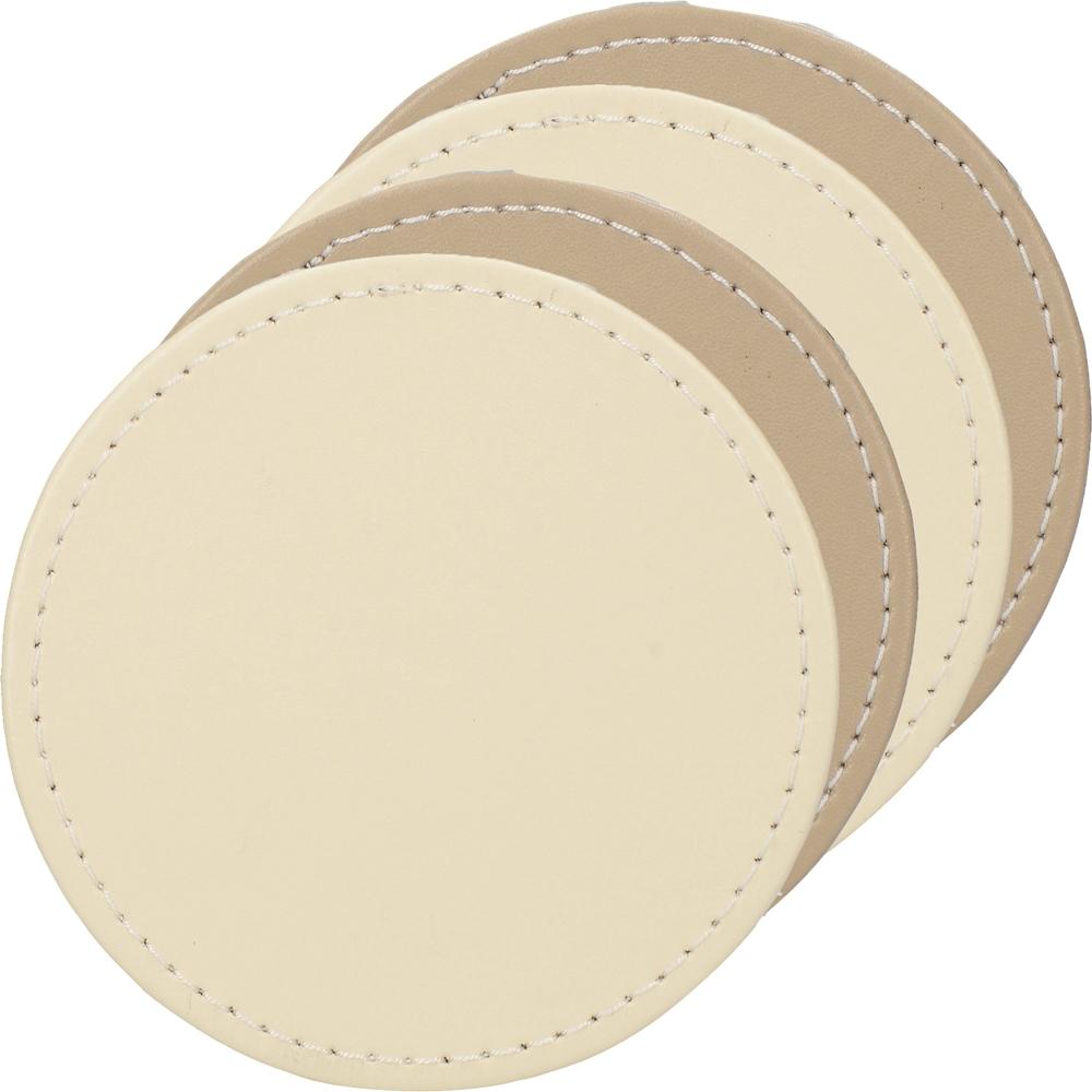 《CreativeTops》圓形皮革杯墊4入(褐米)