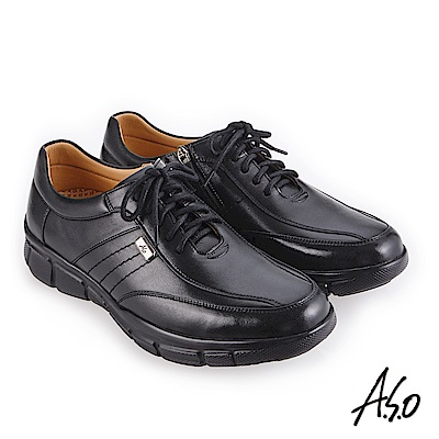A.S.O 3D超動能 精緻飾釦休閒鞋 黑