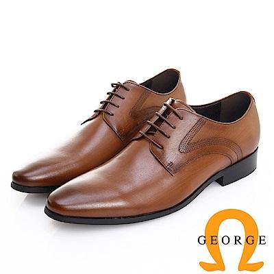 GEORGE 喬治皮鞋 職人系列 素面漸層刷色繫帶紳士鞋 -咖