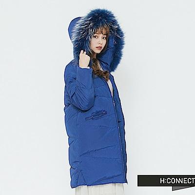 H:CONNECT 韓國品牌 女裝-拉鍊口袋長板羽絨外套-藍