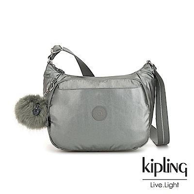 Kipling 金屬墨灰色雙層側背包-CAI