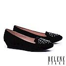 低跟鞋 HELENE SPARK 奢華晶鑽設計羊麂皮楔型低跟鞋-黑
