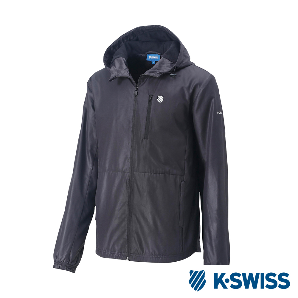 K-SWISS Solid F1刷毛風衣外套-男-黑