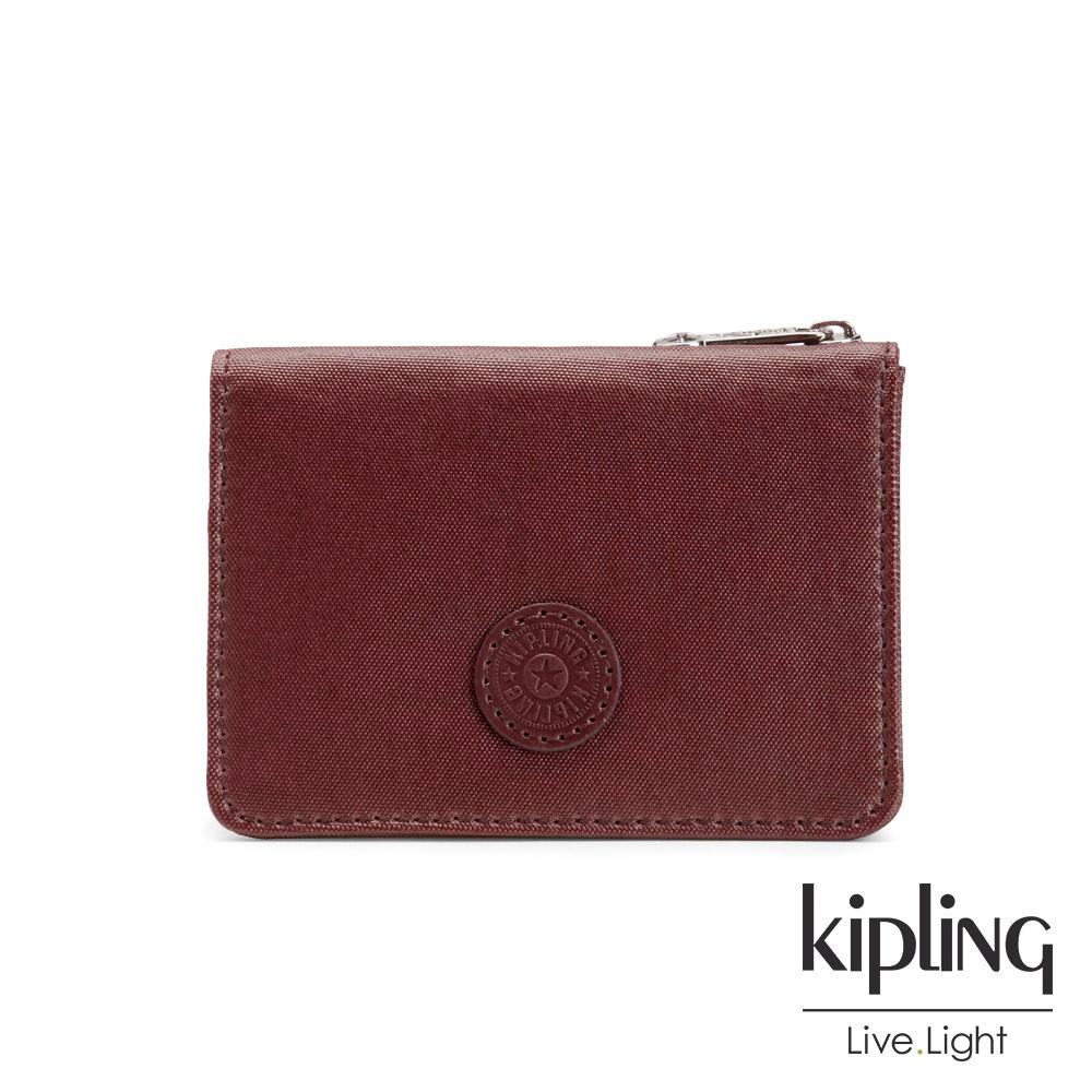 Kipling 雅緻紅褐素面實用短夾-ALETHEA