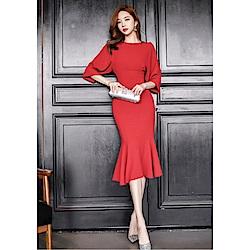 IMStyle 性感荷葉蝙蝠袖魚尾包臀禮服洋裝(紅色)