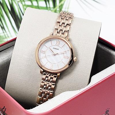 FOSSIL 美國精品手錶Jacqueline羅馬簡約刻度手錶腕錶 銀x玫塊金26mm