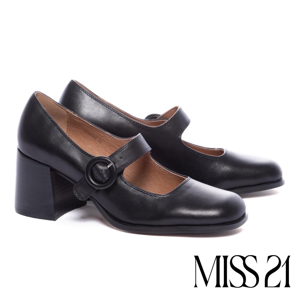高跟鞋 MISS 21 復古時髦寬繫帶方頭瑪莉珍粗高跟鞋-黑