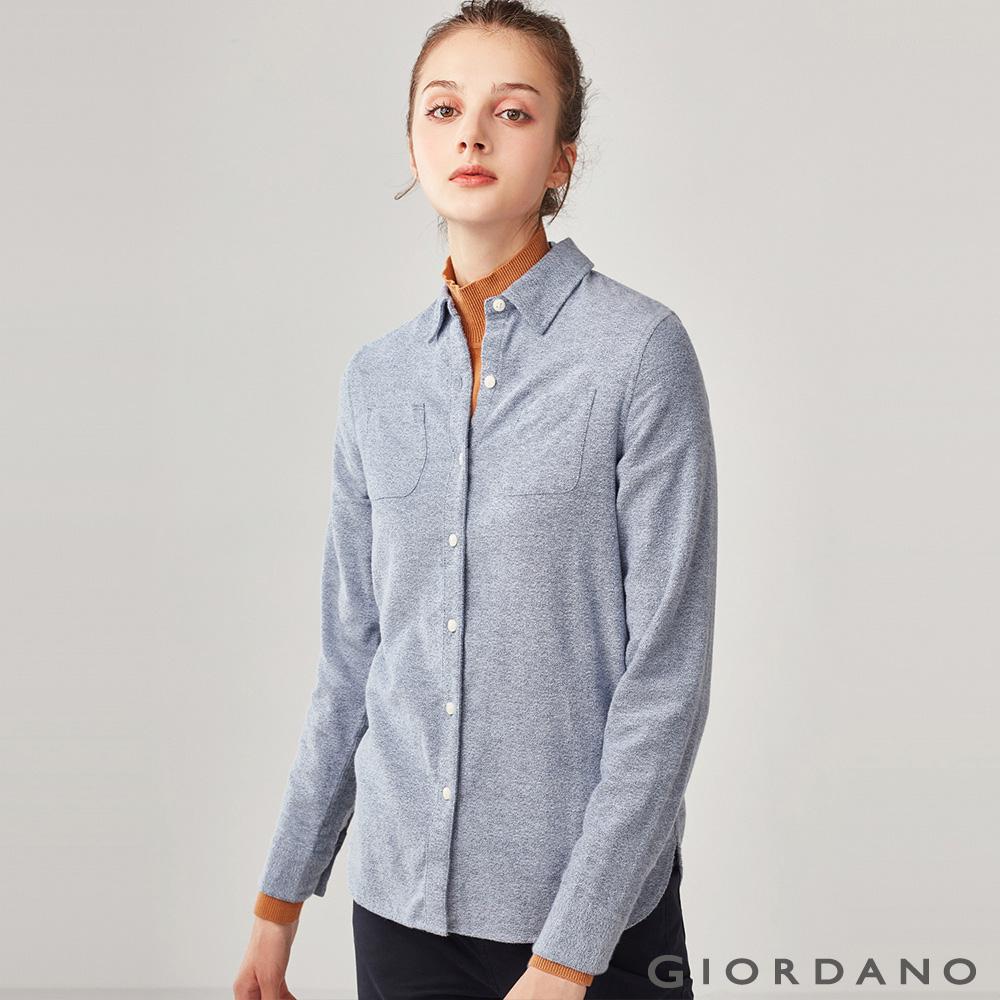GIORDANO 女裝純棉雙口袋法蘭絨襯衫-37 中藍色 @ Y!購物