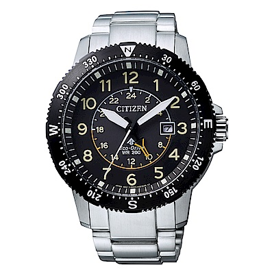 CITIZEN 星辰光動能雙時區方位時尚手錶(BJ7094-59E)-黑/44mm