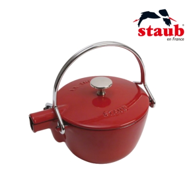 法國Staub 圓形琺瑯鑄鐵茶壺1.15L  櫻桃紅