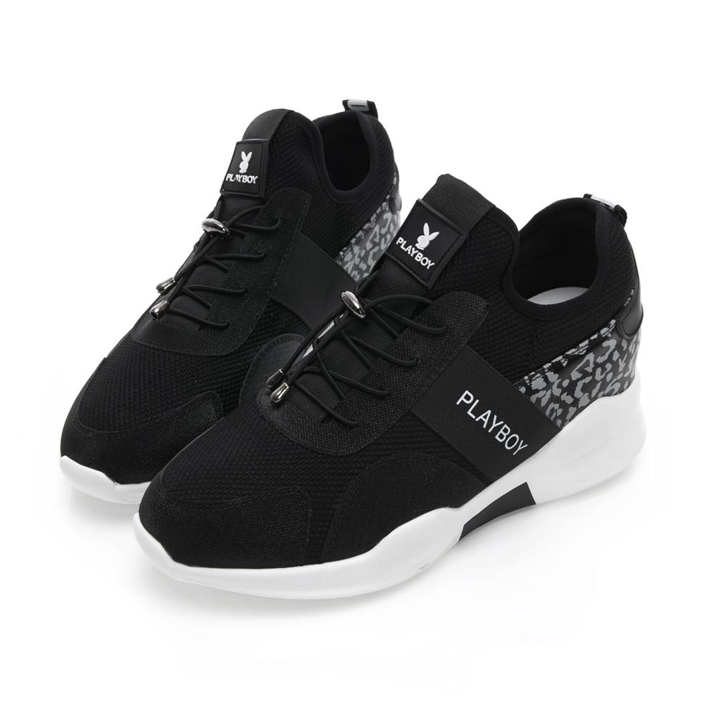 PLAYBOY 豹紋微尖楦頭拼接休閒鞋-黑 Y5281CC