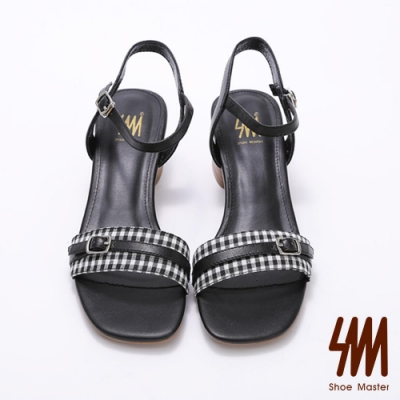 SM-方頭格子紋皮帶扣飾後空側勾涼鞋