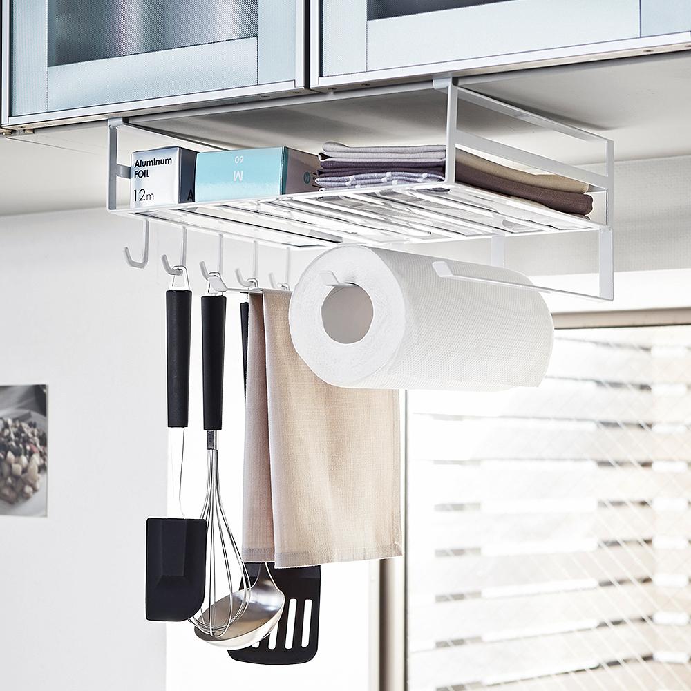 日本 YAMAZAKI-tower多功能層板架(白)★廚房收納/置物架/收納架/紙巾架