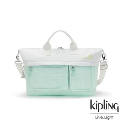 Kipling 清新薄荷綠拼接網點大容量手提兩用包-KALA M