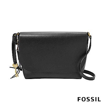 FOSSIL Maya 俐落簡約真皮可加大側背包 -黑色