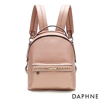 達芙妮DAPHNE-字母鏈條皮革後背包-淺粉