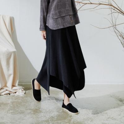 慢 生活 韓版造型下襬不規則羅紋針織長裙- 黑/灰