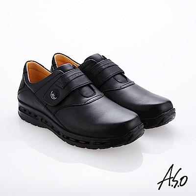 A.S.O霸足氣墊 魔鬼氈奈米牛皮氣墊鞋 黑