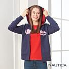 Nautica女裝經典LOGO磨毛連帽外套-深藍