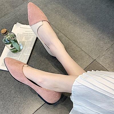 韓國KW美鞋館 經典優雅女伶拼接造型平底鞋-紅色