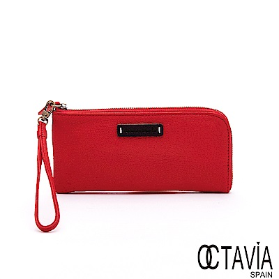 OCTAVIA8 真皮 - 隨心所欲 ensoen經典 L型牛皮可置手機手挽長夾-美美紅