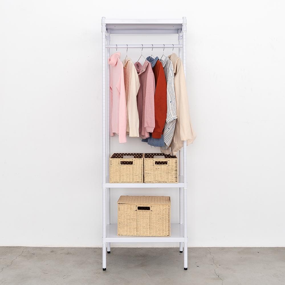 dayneeds無洞鐵板 三層單桿衣櫥層架(烤漆白)60x35x180cm