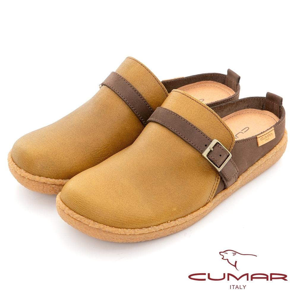 【CUMAR】舒適大圓頭懶人便鞋-黃色